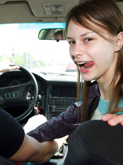 Blowjob in the car given by naughty teeny